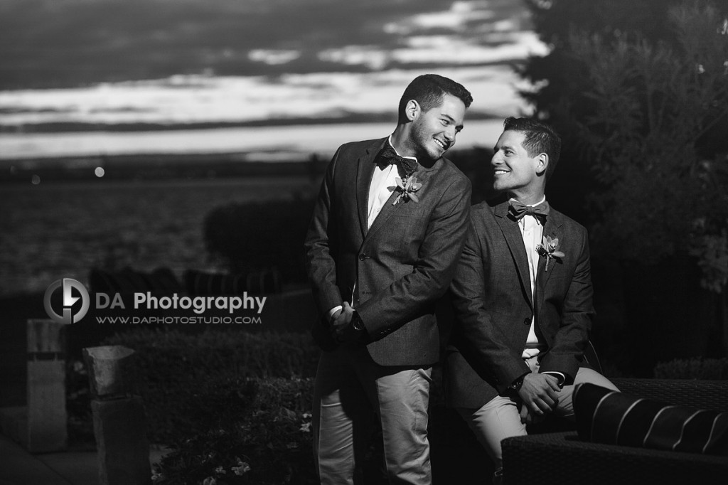The Look if Love at sunset in Fall - Same Sex Weddings by DA Photography at EdgeWater Manor - www.daphotostudio.com