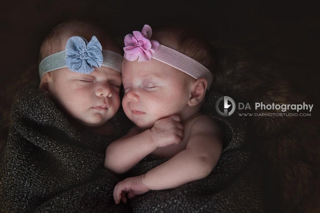 Twin newborn sisters snuggled together -Newborn babies by DA Photography - www.daphotostudio.com