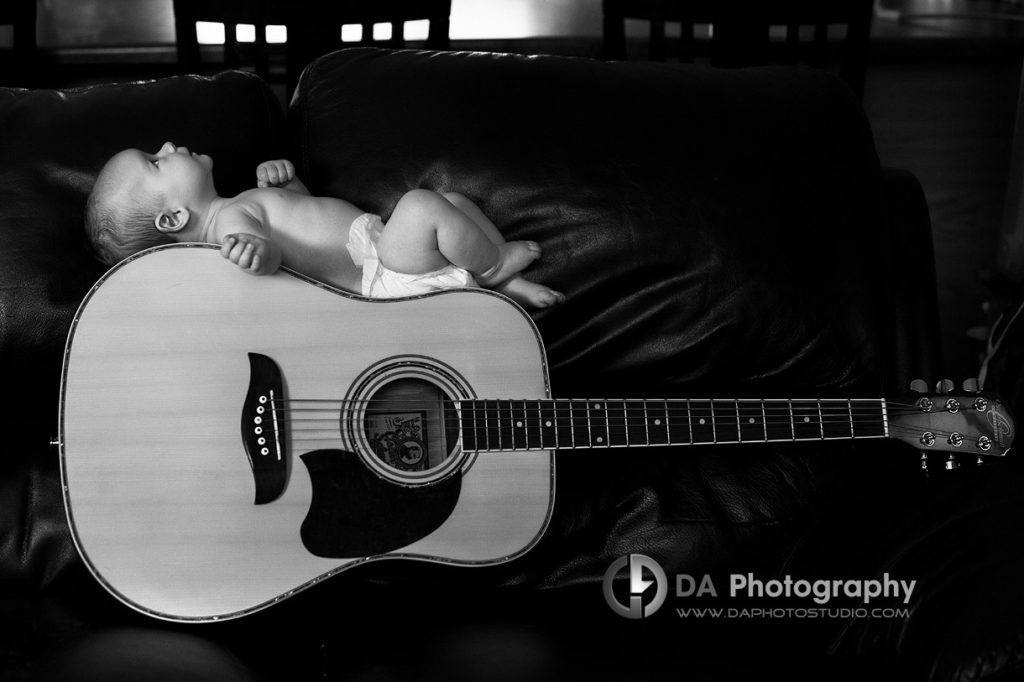 Baby musician , baby on a guitar portrait - Family Photo Session by DA Photography, www.daphotostudio.com, Sutton, ON