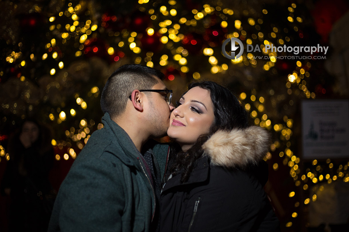 Distillery District Winter Engagement Picture