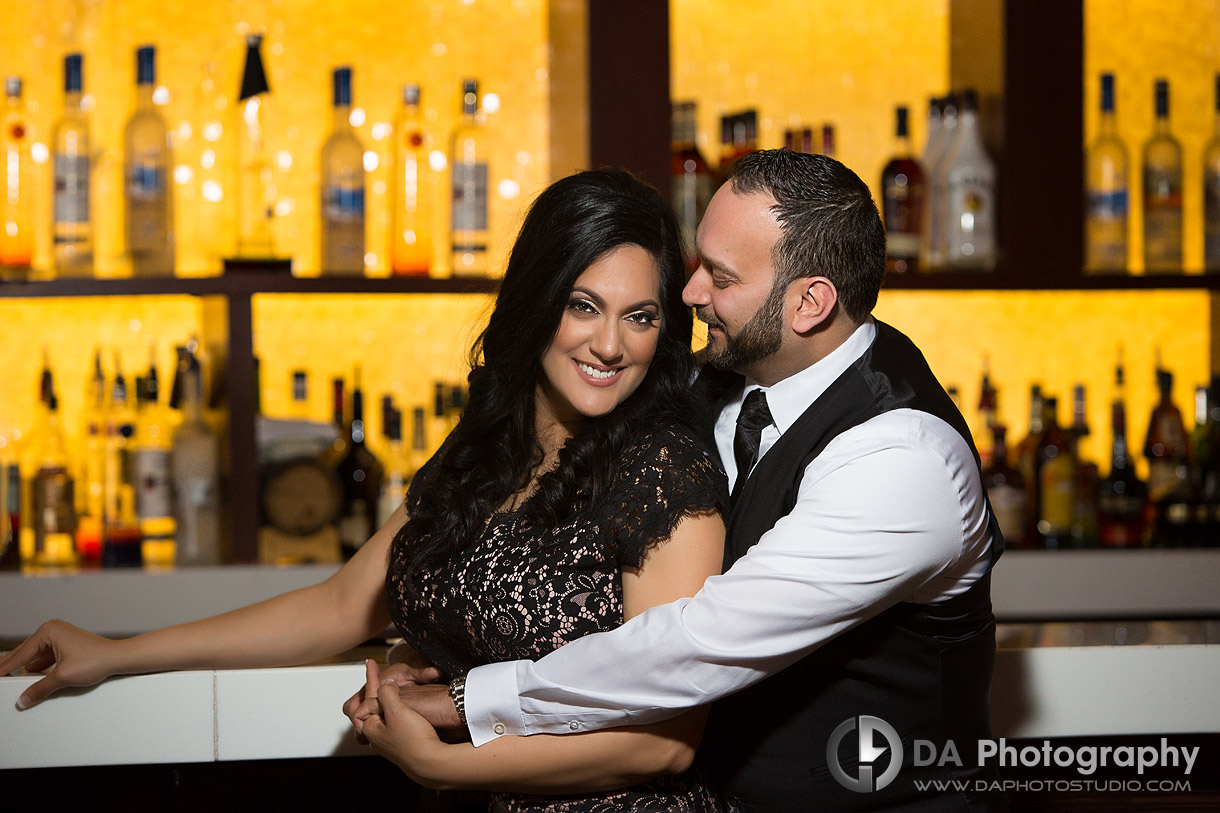 Engagement photo at Proof Bar in Toronto