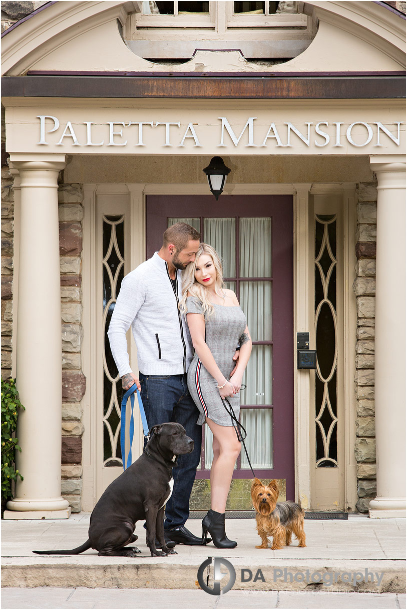 Engagement photos with dogs at Paletta Mansion
