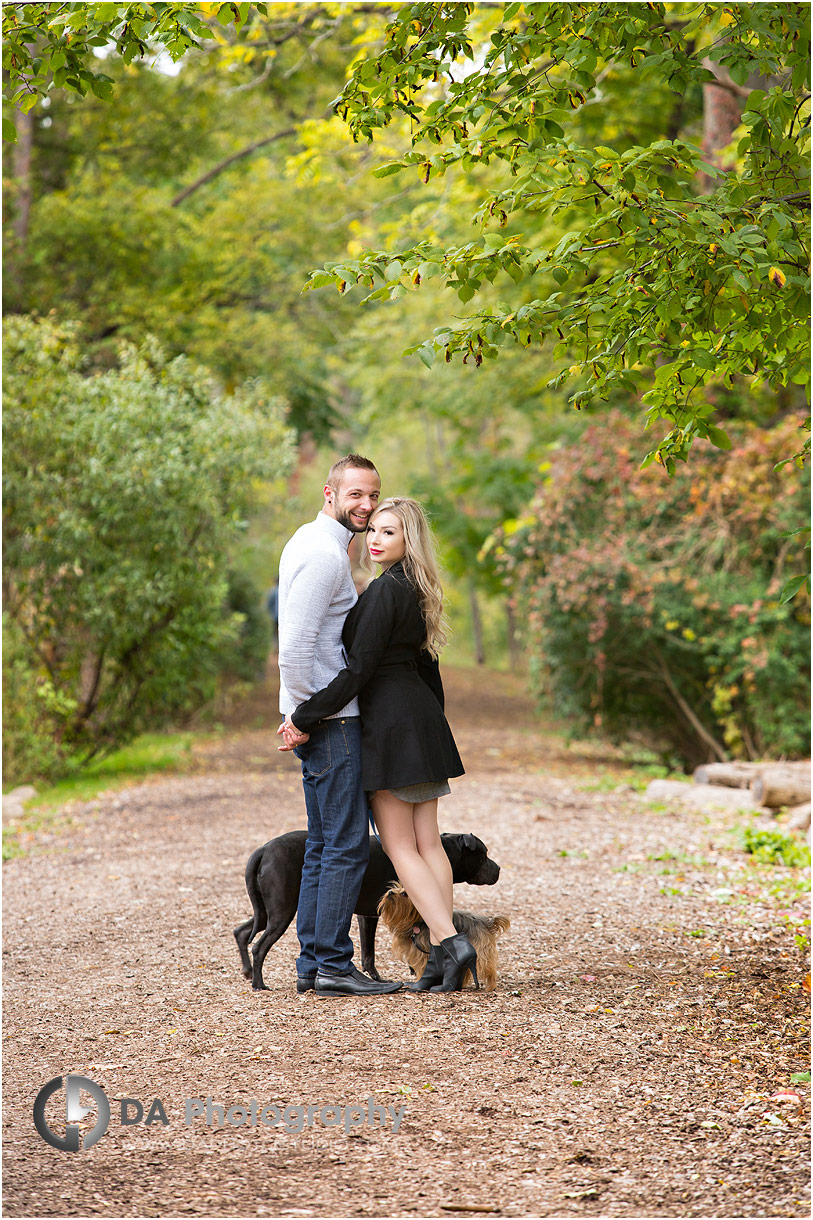 Engagement photos with dogs at Lakefront Park