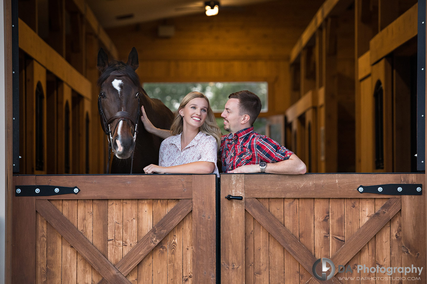 Engagement Pictures at Horse Stable in Milton