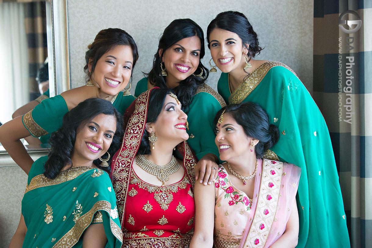 Bridesmaids at Traditional Indian wedding
