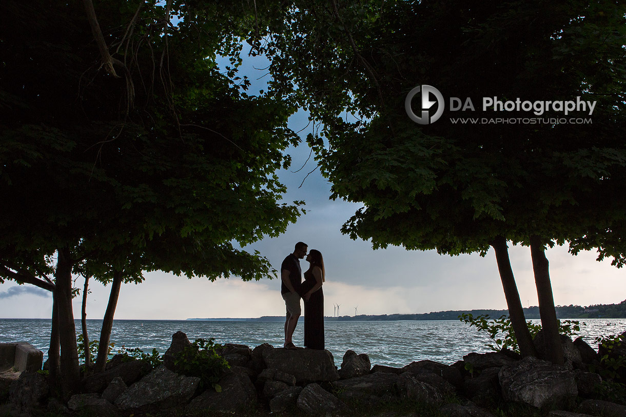 Silhouette portraits by the lake in Port Dover