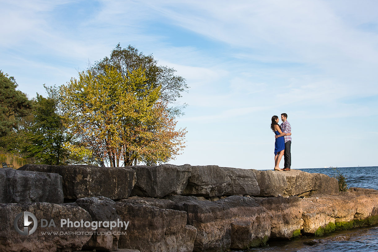Sunset engagement picture at Paletta Lakefront Park