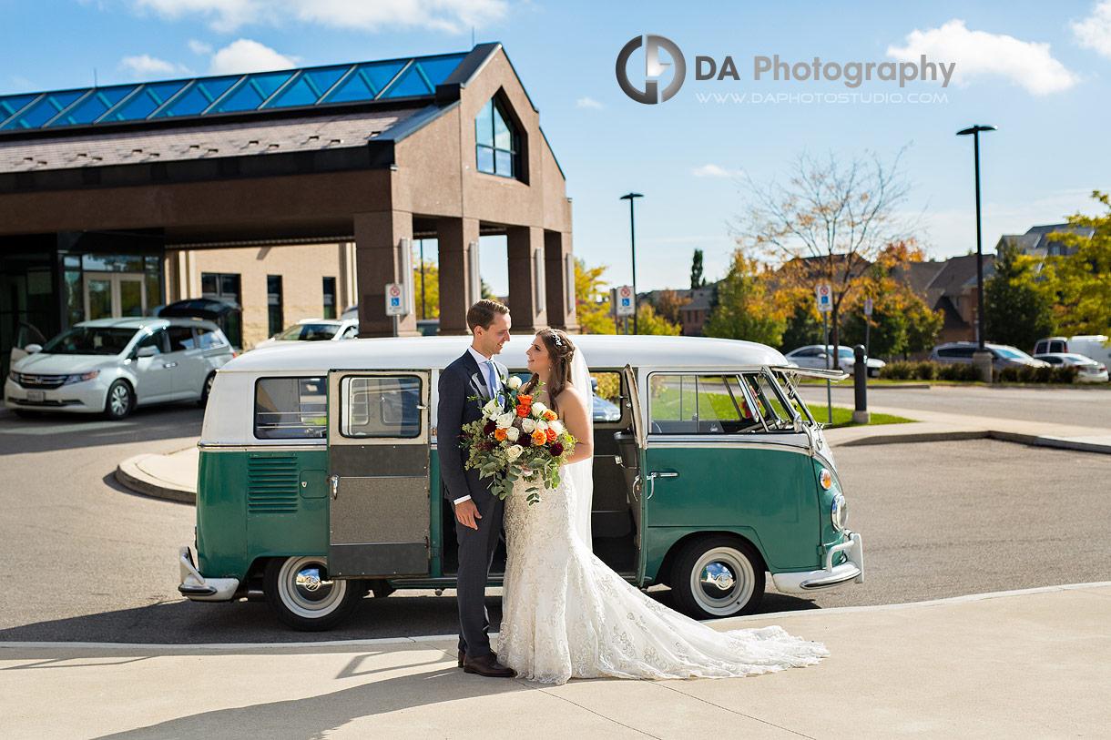 Photo of Wedding couple with vintage Volkswagen van