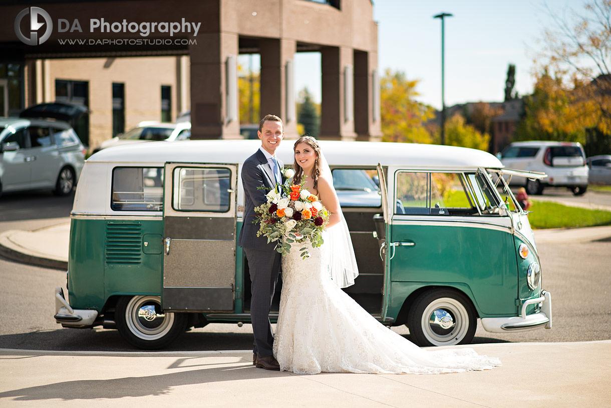 Oakville church wedding with vintage Volkswagen van