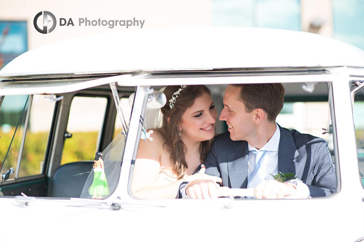 Vintage Volkswagen van on a wedding day