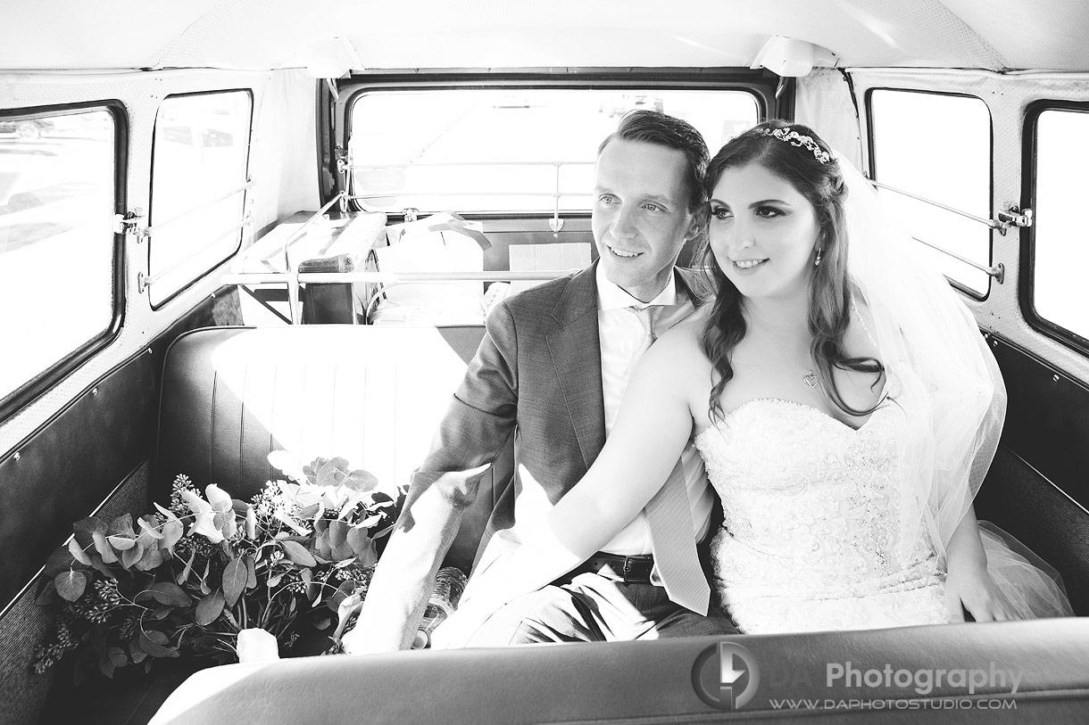 Photos of Bride and Groom in vintage Volkswagen van