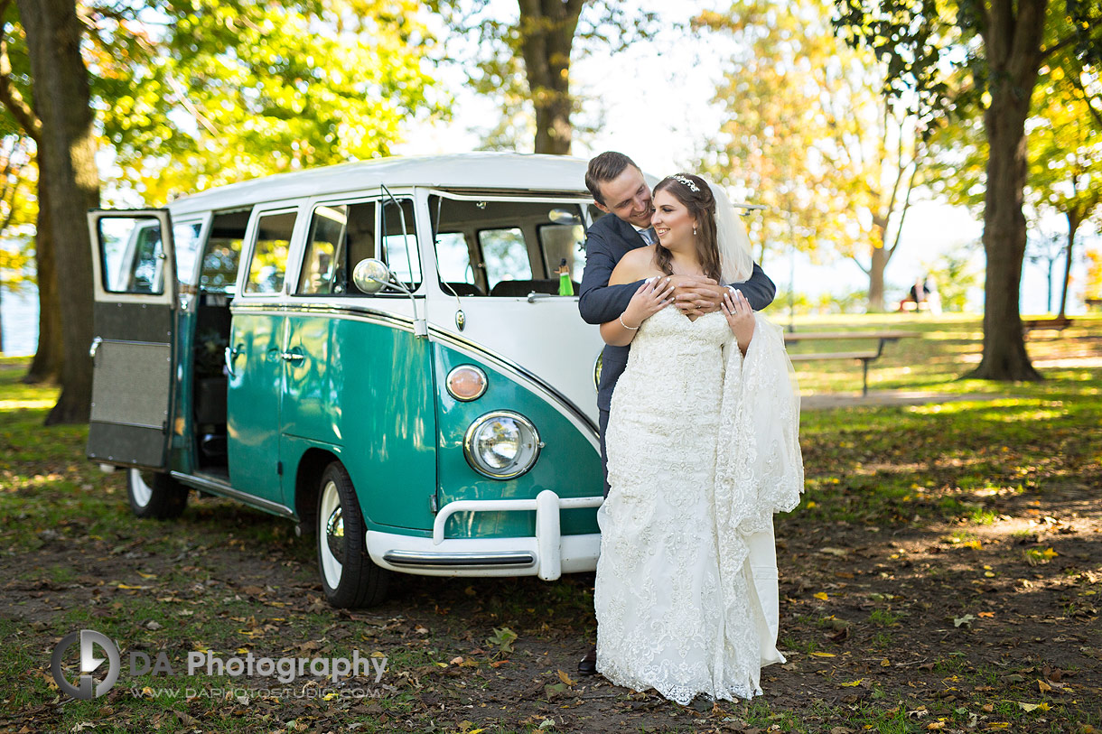 Wedding Photos of Bride and Groom with vintage Volkswagen van
