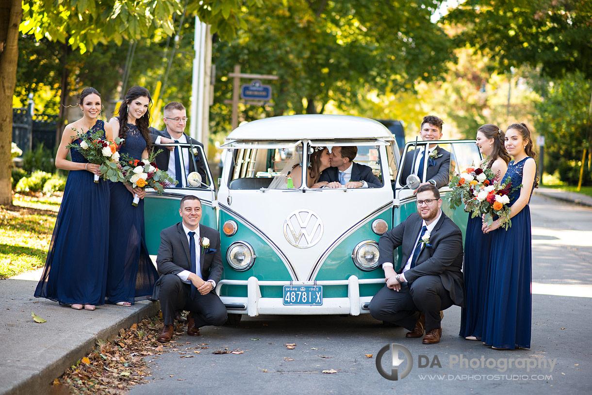 Wedding Photo of Bride and Groom in vintage Volkswagen van