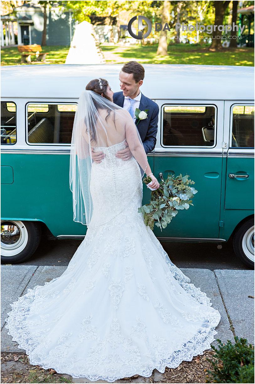 Wedding Photos of Bride and Groom in vintage Volkswagen van