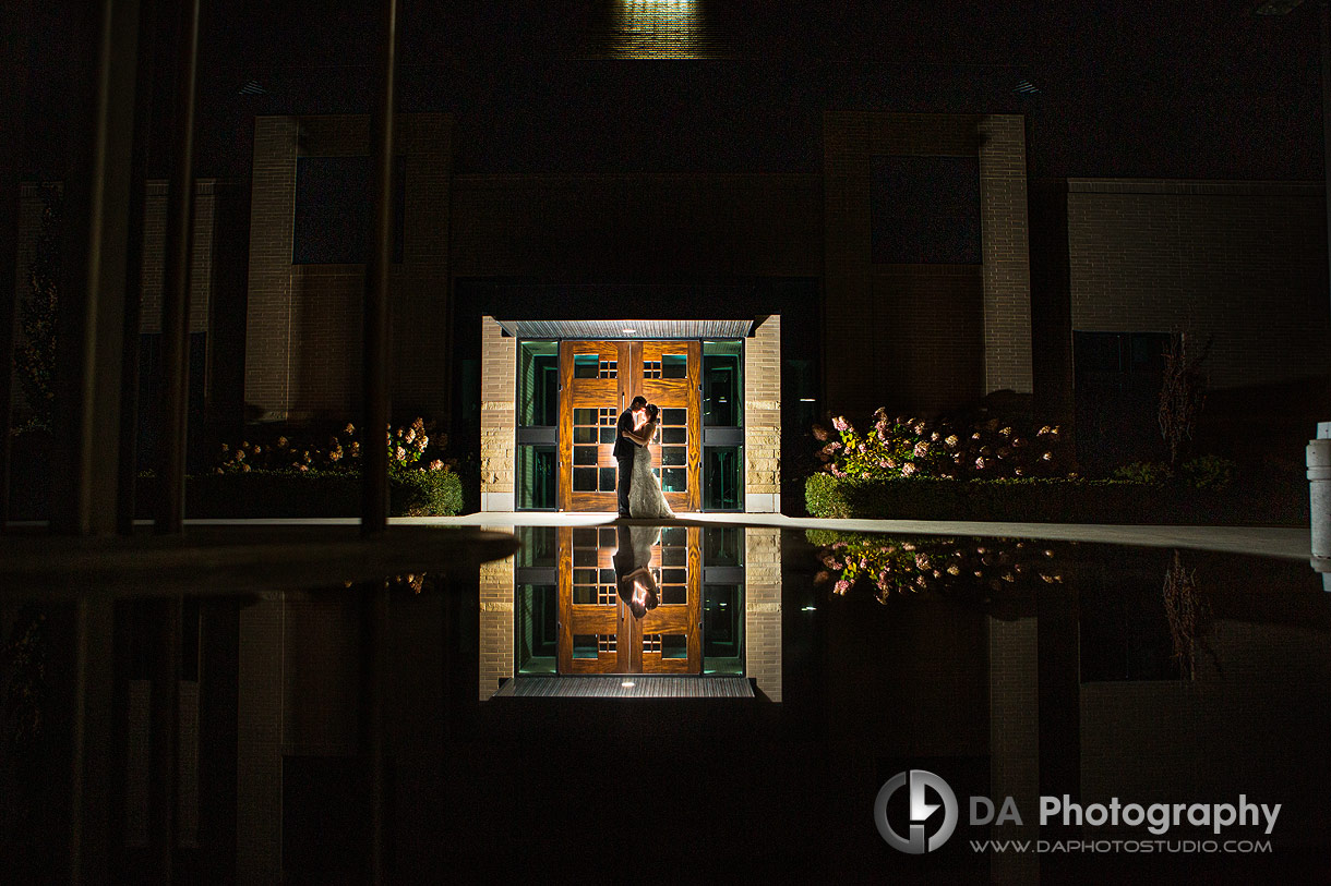 Nighttime portrait of Bride and Groom at Church wedding