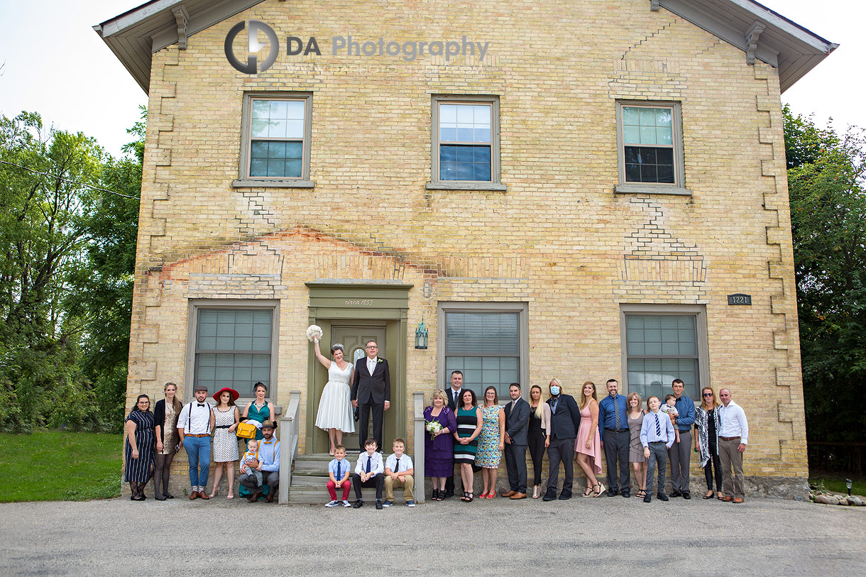 Group Wedding photo at Doon Chapel in Kitchener