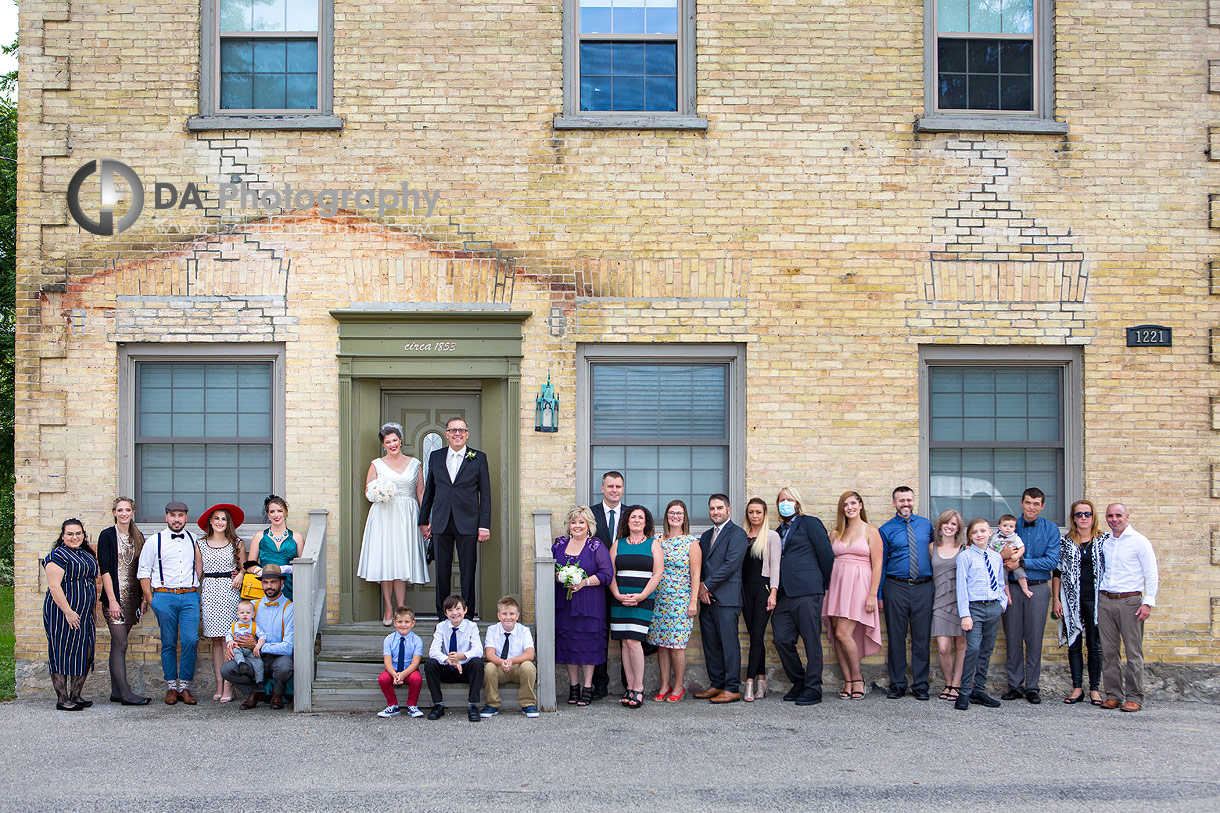 Group photo of a vintage wedding