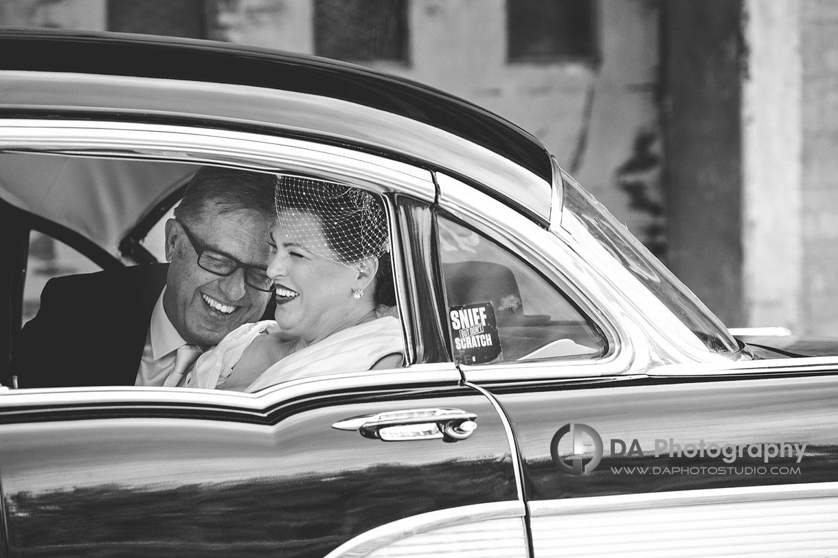 Bride and Groom in vintage Chevrolet '57