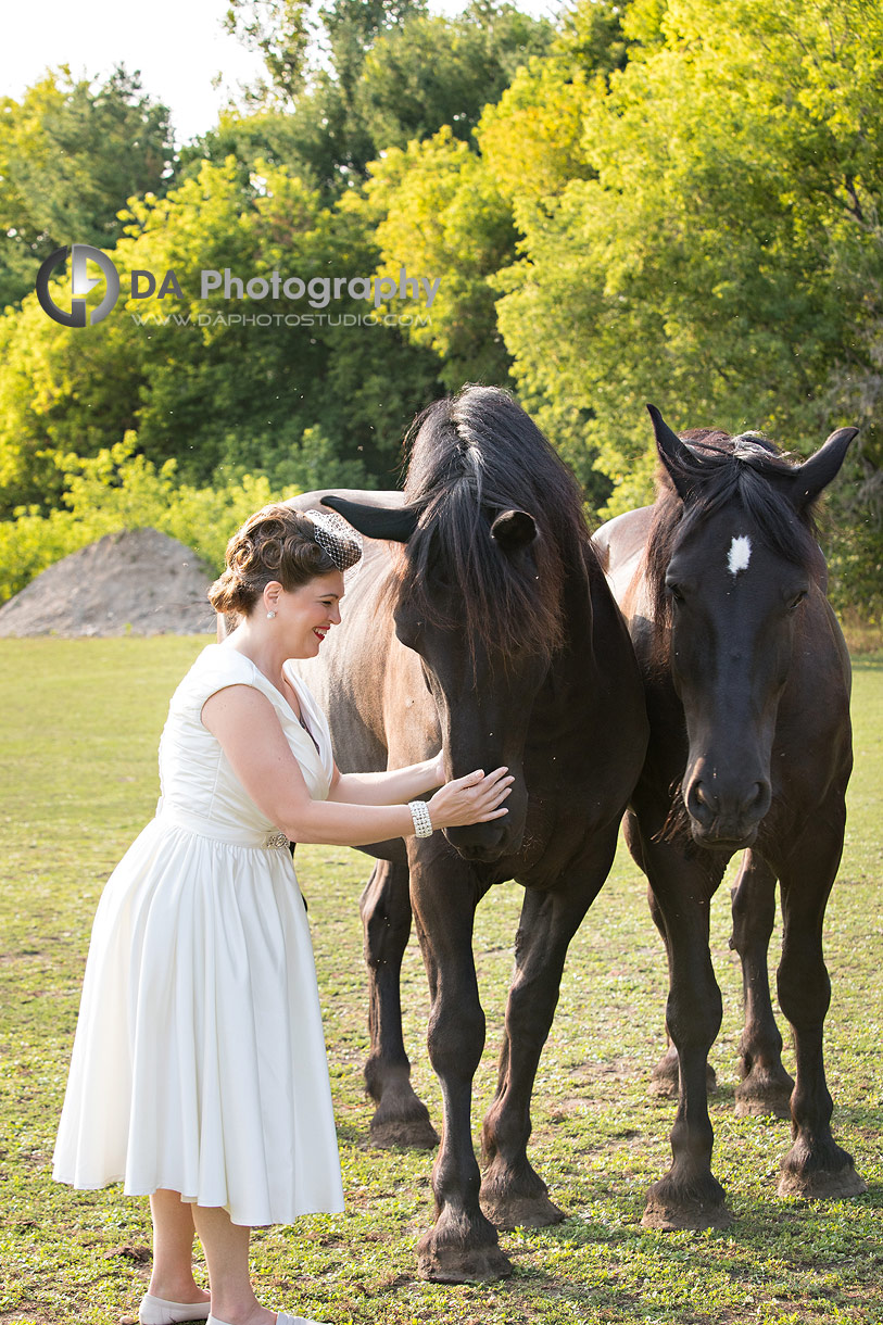 Bride with horses at NithRidge Estate in Ayr