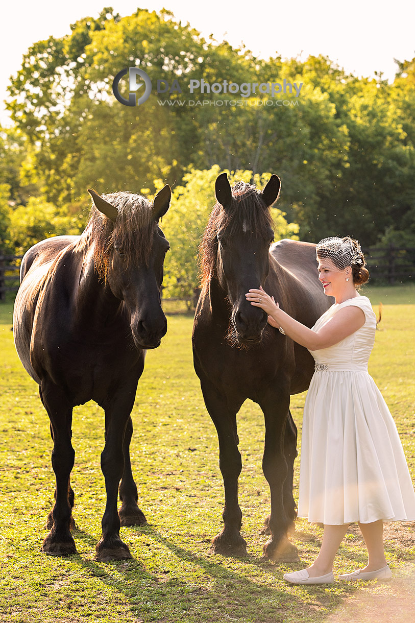 Bride with horses at NithRidge Estate
