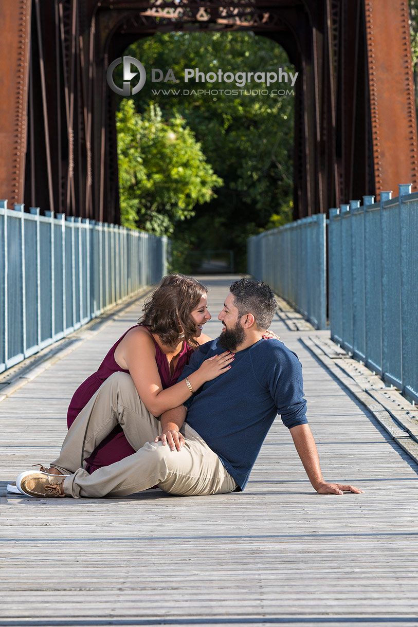 Engagement photography at Waterfront Black Bridge in Simcoe