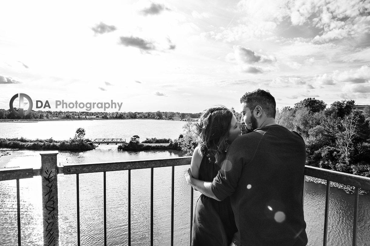 Engagement photographer at Waterfront Black Bridge in Simcoe