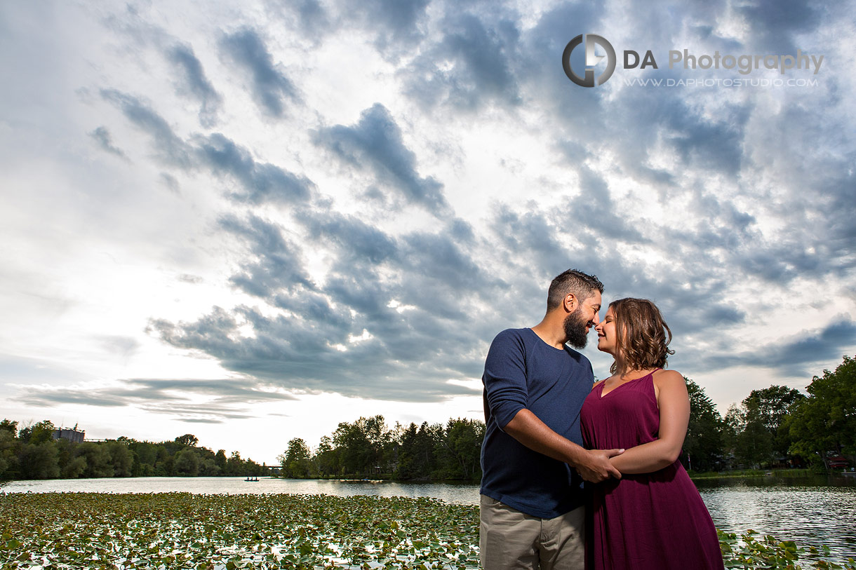 Intimate engagement photography in Simcoe at sunset