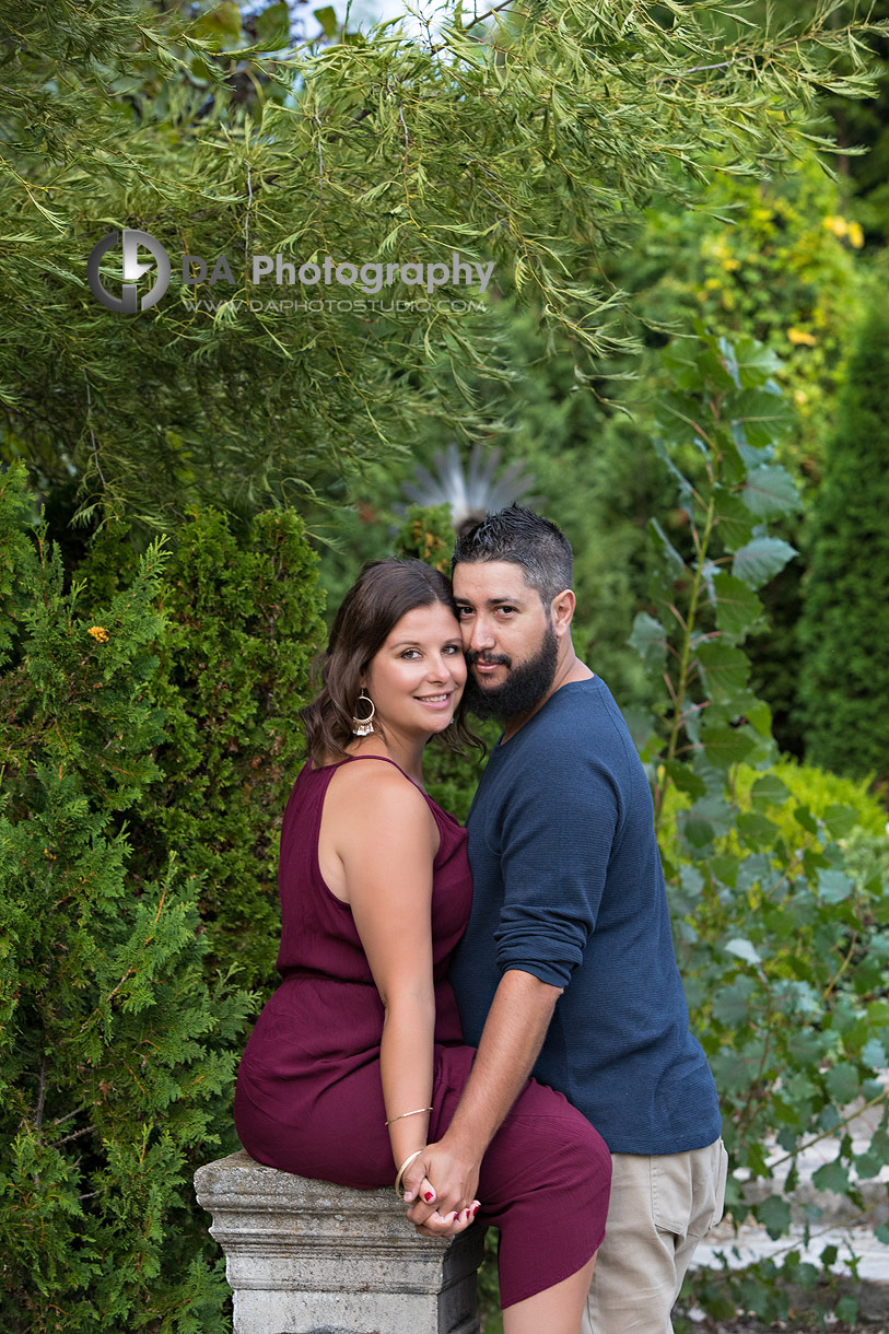 Intimate engagement photos at Whistling Gardens in Wilsonville