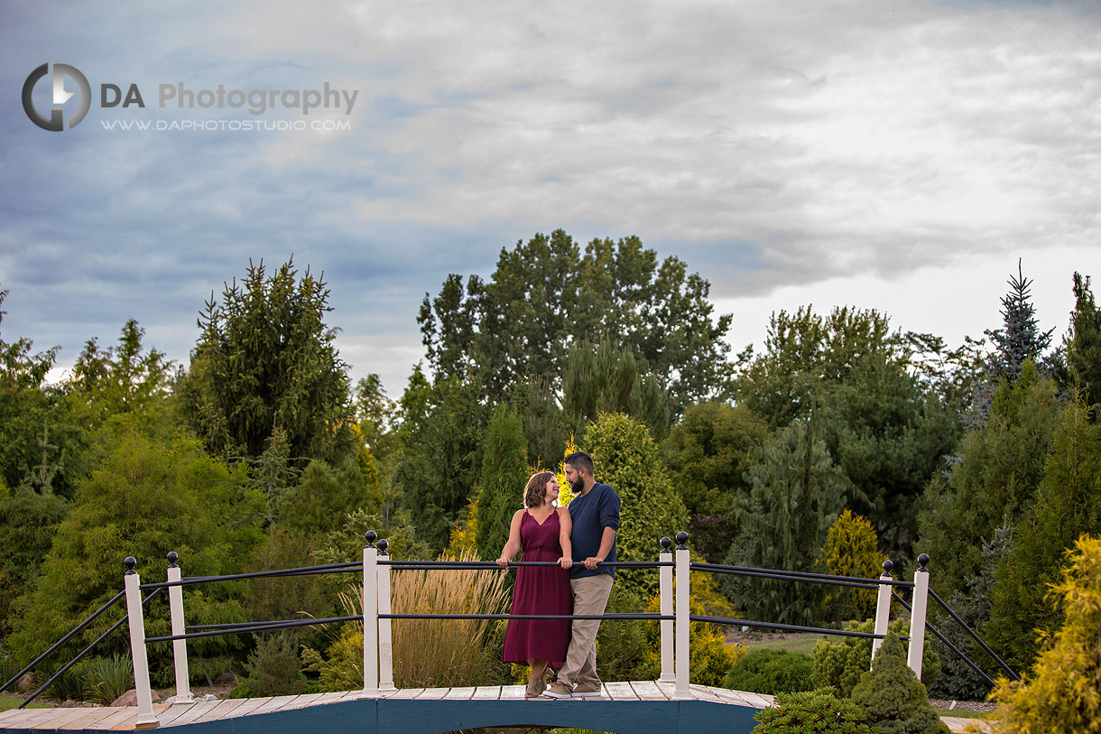 Intimate engagement photo at Whistling Gardens