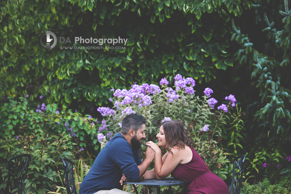 Intimate engagement photos at Whistling Gardens