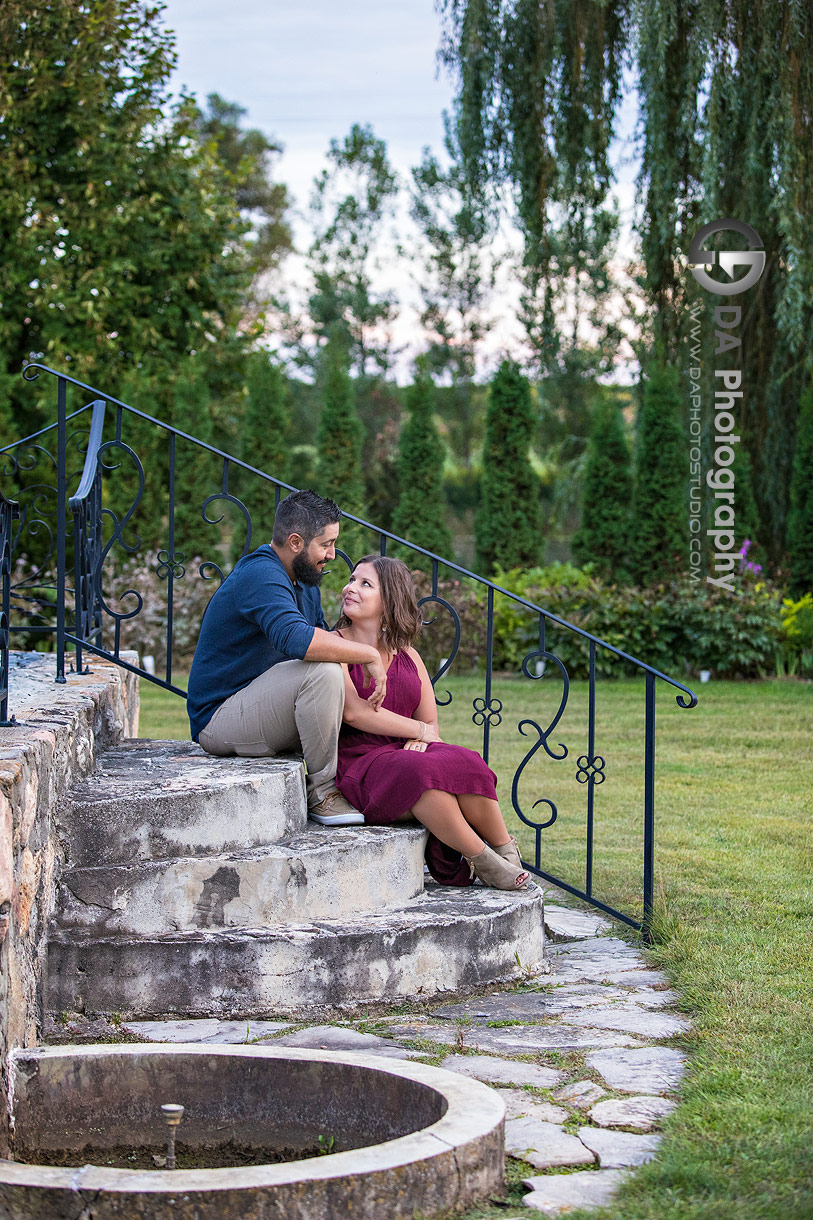 Intimate engagement photo at Whistling Gardens in Wilsonville