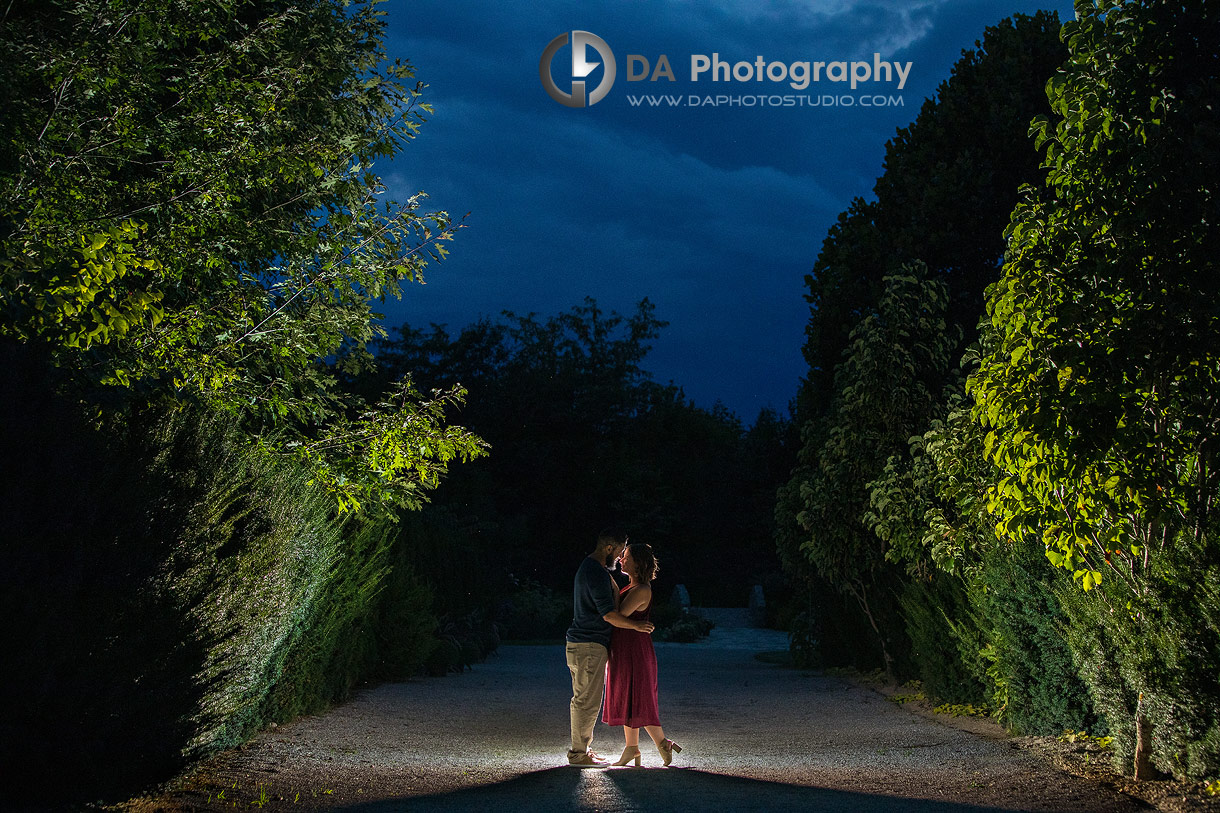 Whistling Gardens twilight engagement photos