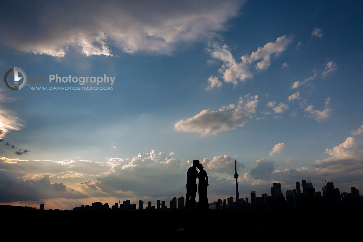 Nighttime wedding silhouettes photos in Toronto