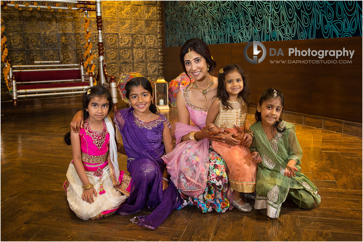 Indian Bride with the little girls dress in sari's